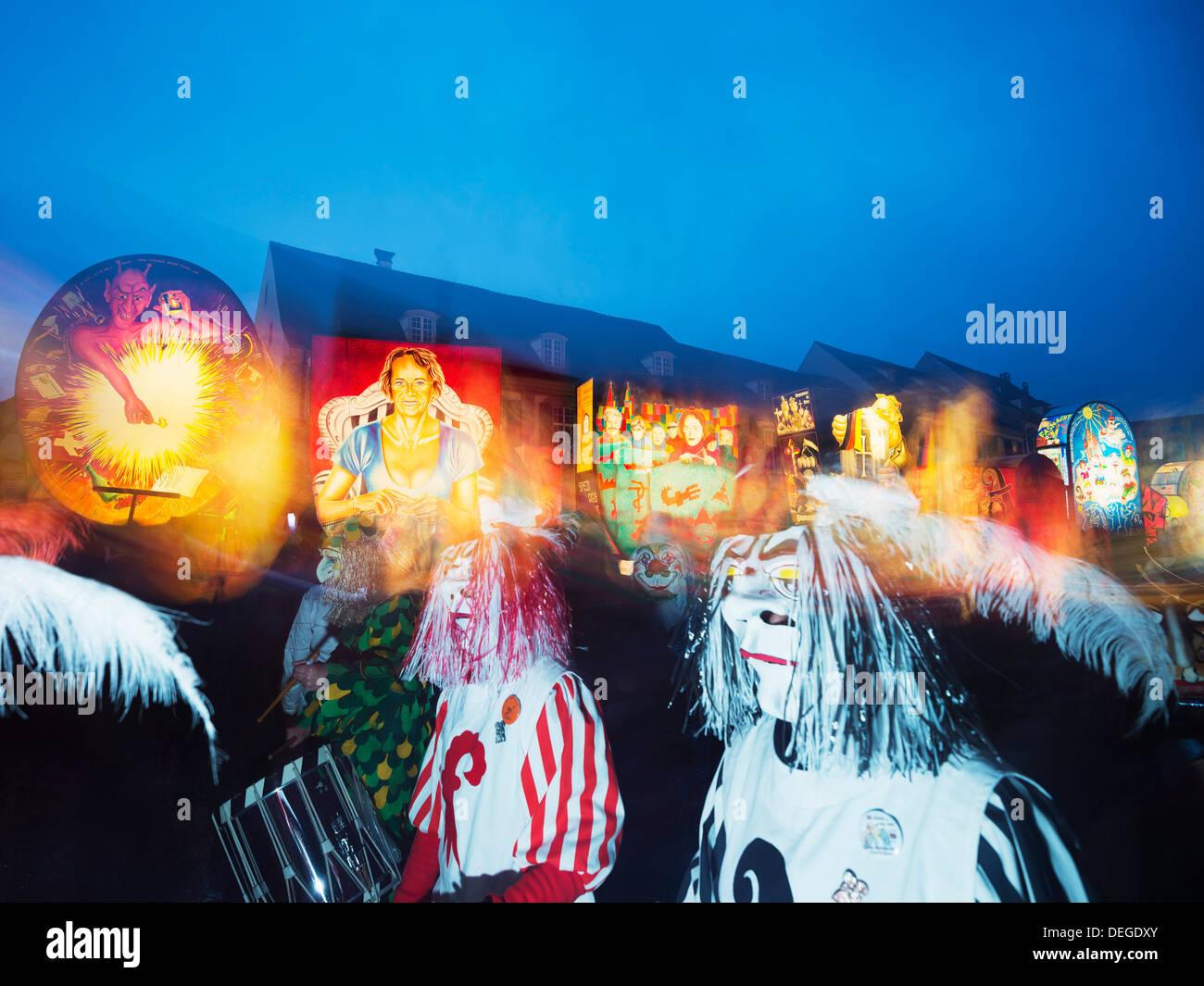 Fasnact spring carnival lantern displays, Basel, Switzerland, Europe - Stock Image
