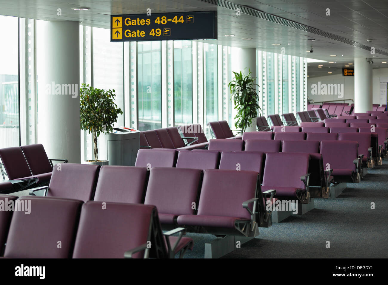 Airport departure gate - Stock Image
