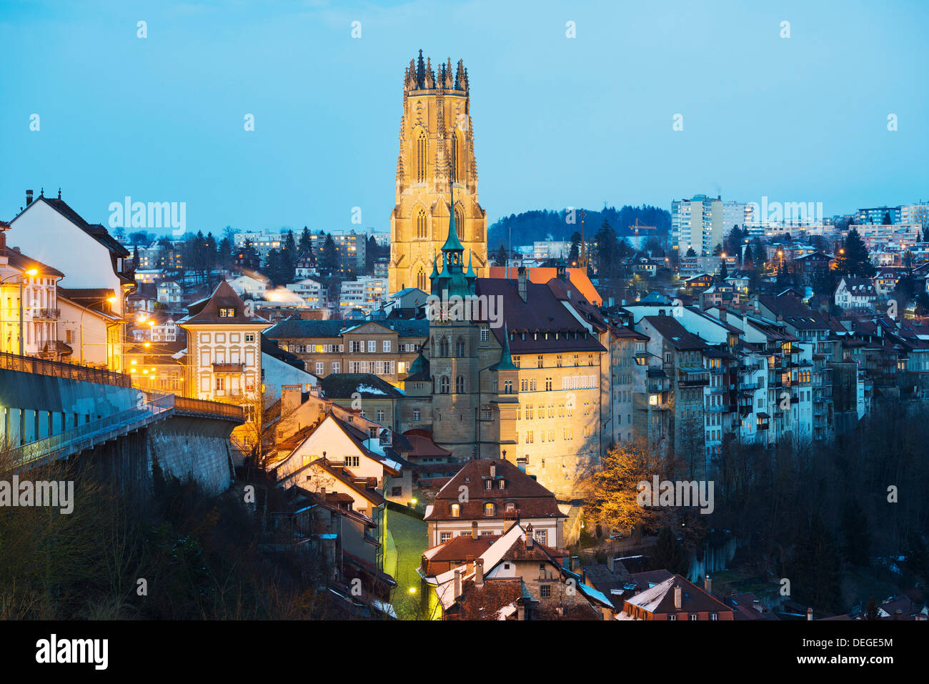 The 13th century Gothic church, St. Nicolas Cathedral, Fribourg, Switzerland, Europe - Stock Image