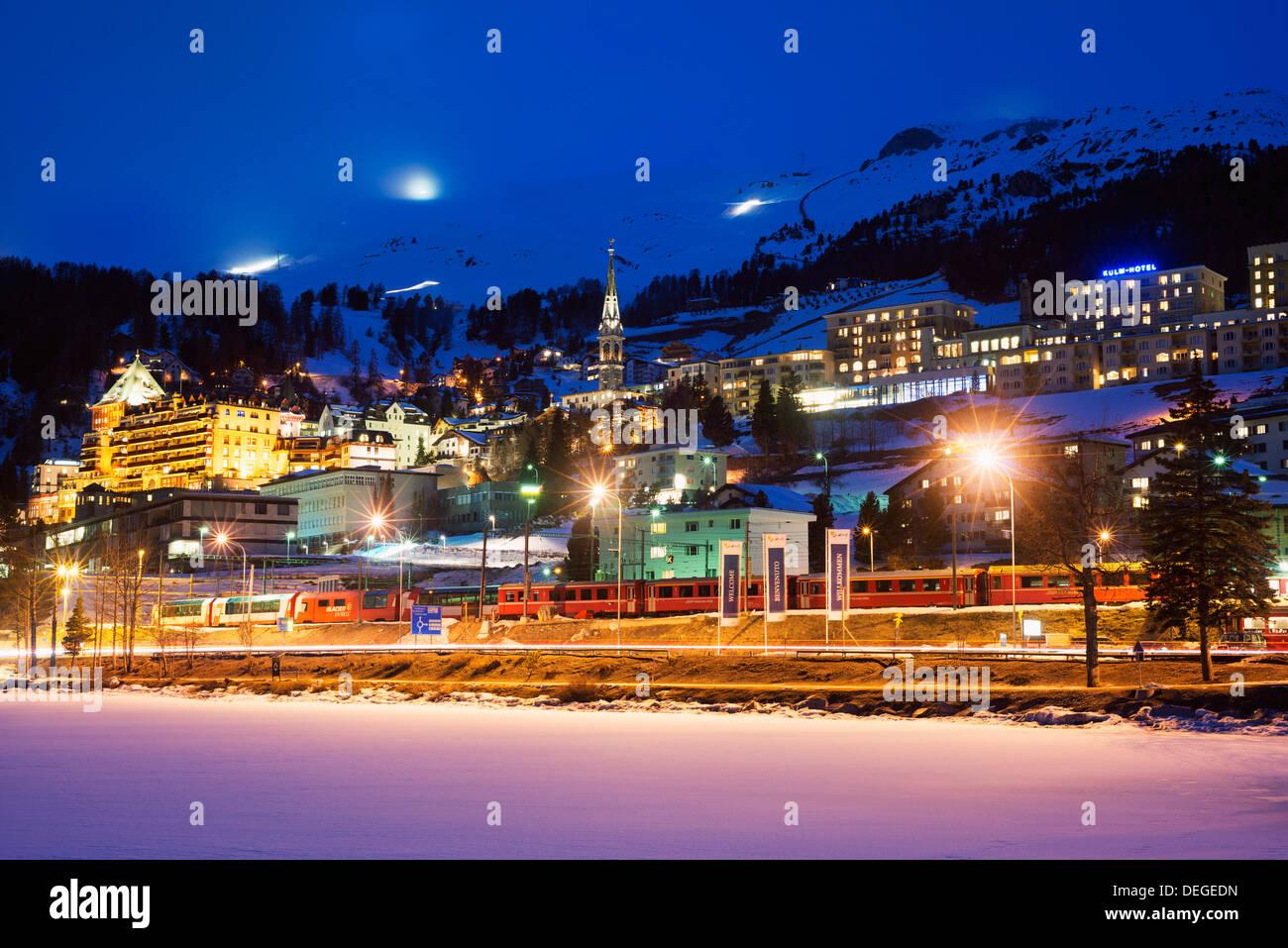 St. Moritz, Graubunden, Swiss Alps, Switzerland, Europe - Stock Image