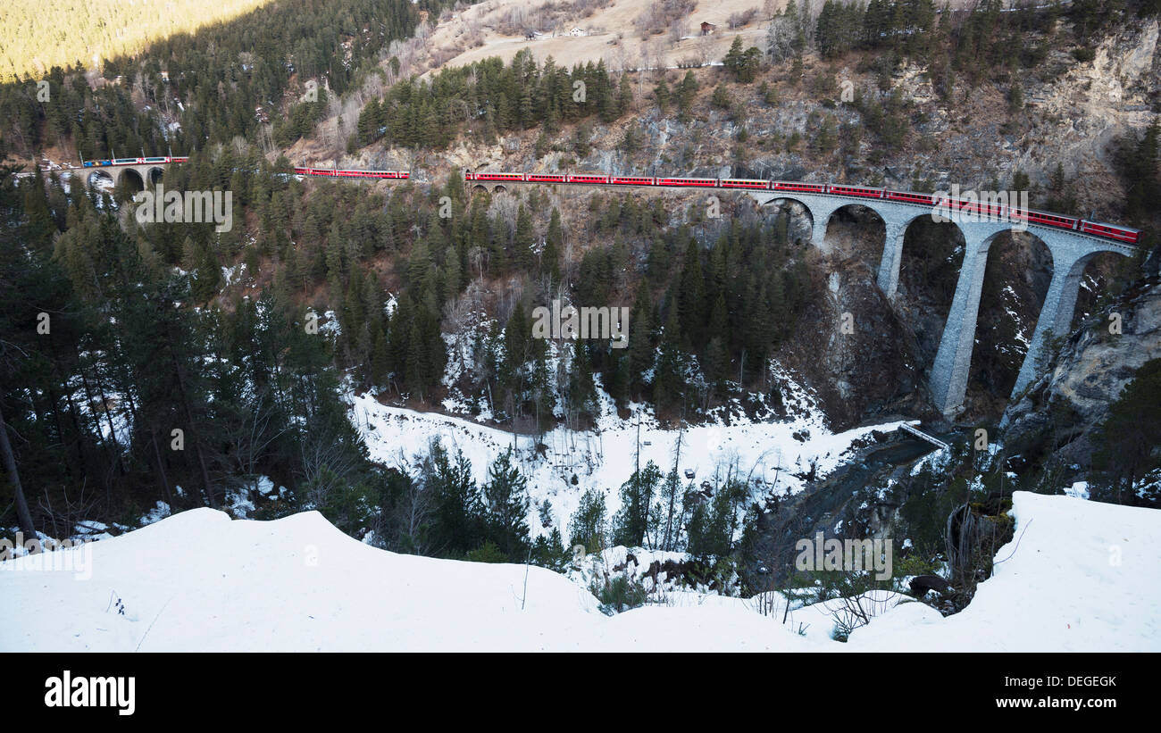 Landwasser Viaduct, Bernina Express railway line, UNESCO World Heritage Site, Graubunden, Swiss Alps, Switzerland, Europe - Stock Image