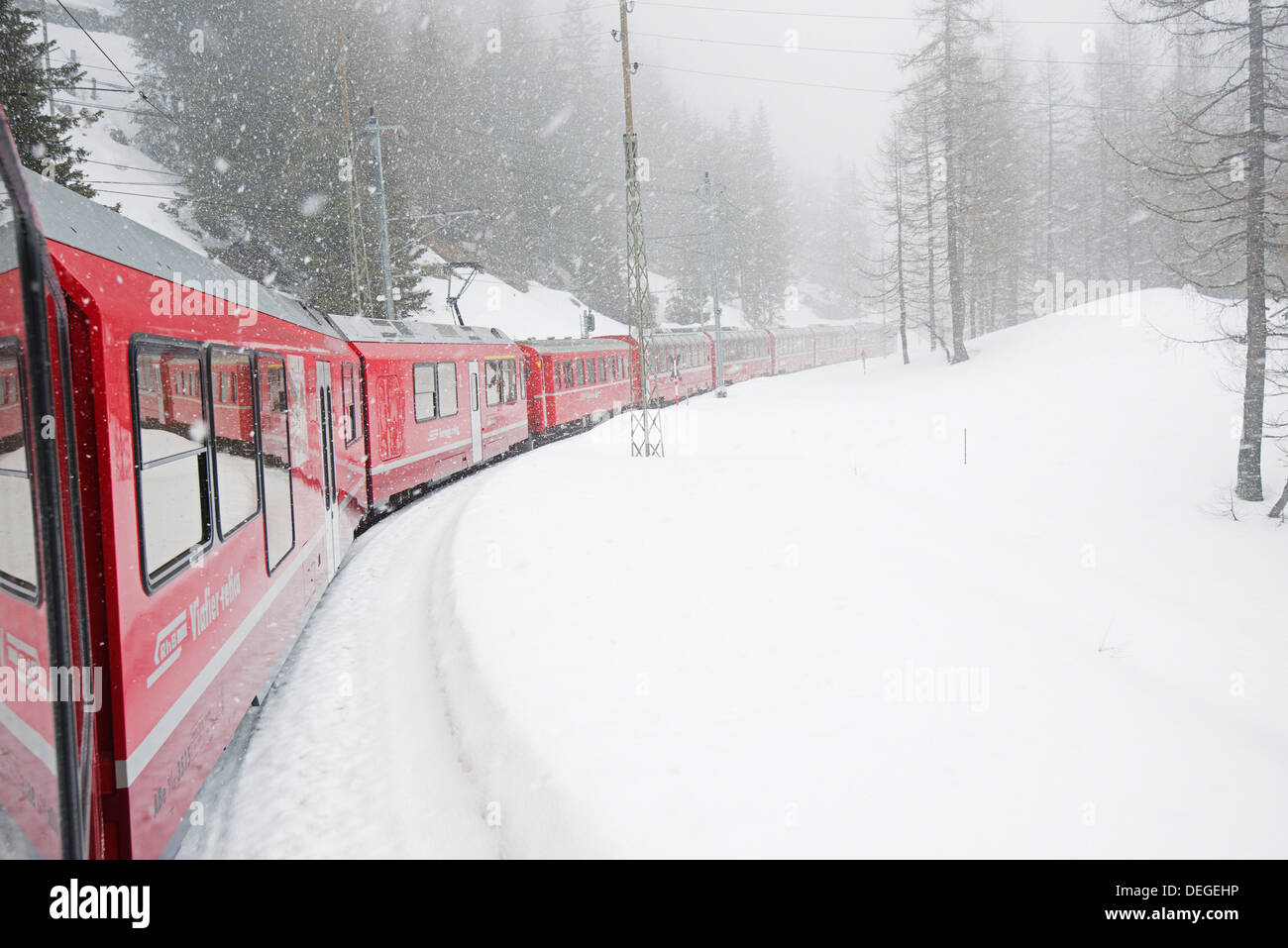 Bernina Railway Line, UNESCO World Heritage Site, Graubunden, Swiss Alps, Switzerland, Europe - Stock Image