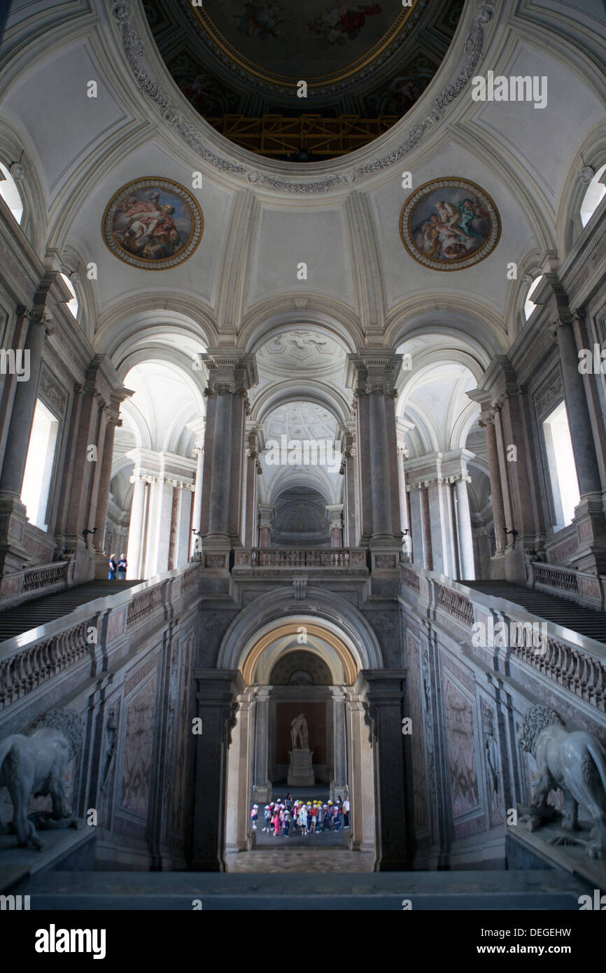 Caserta Royal Palace Entrance hall and stairs of the royal apartments, Royal Palace, Caserta, Campania, Italy, Europe - Stock Image