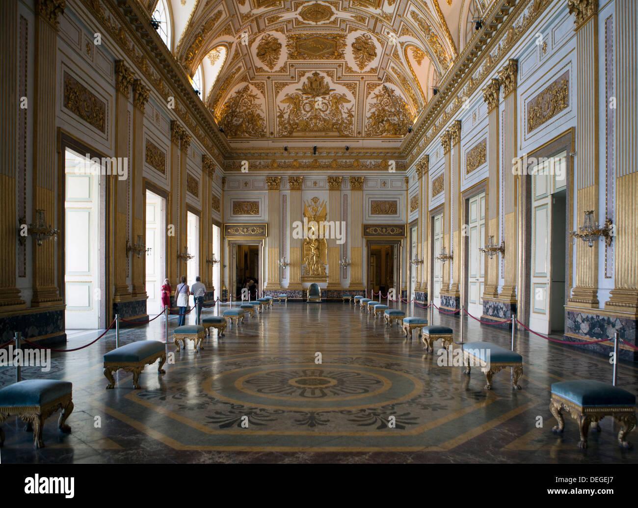 Throne room, Royal Palace, Caserta, Campania, Italy, Europe Stock Photo