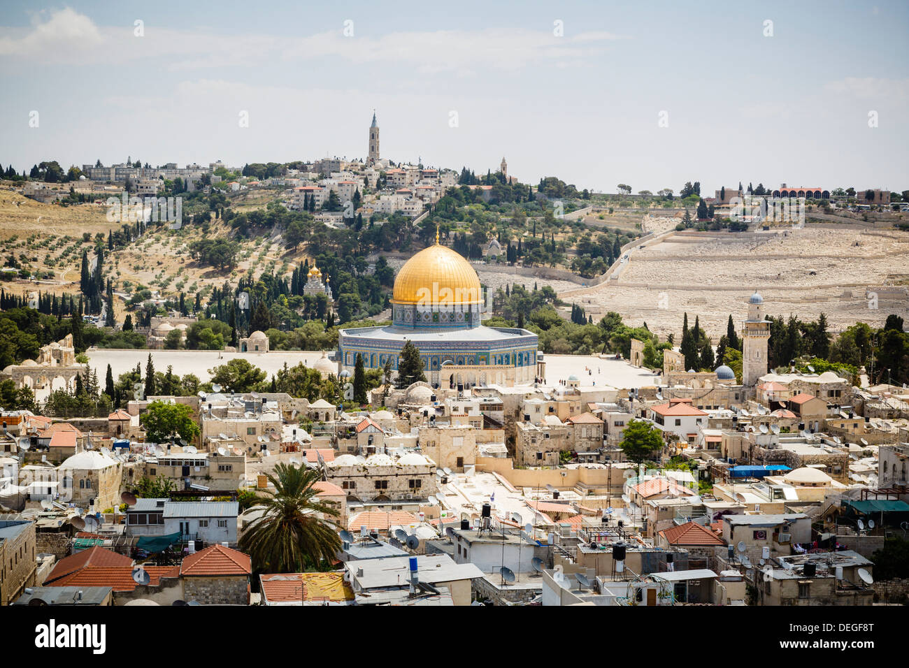 View over the Old City with the Dome of the Rock, UNESCO World Heritage Site, Jerusalem, Israel, Middle East - Stock Image