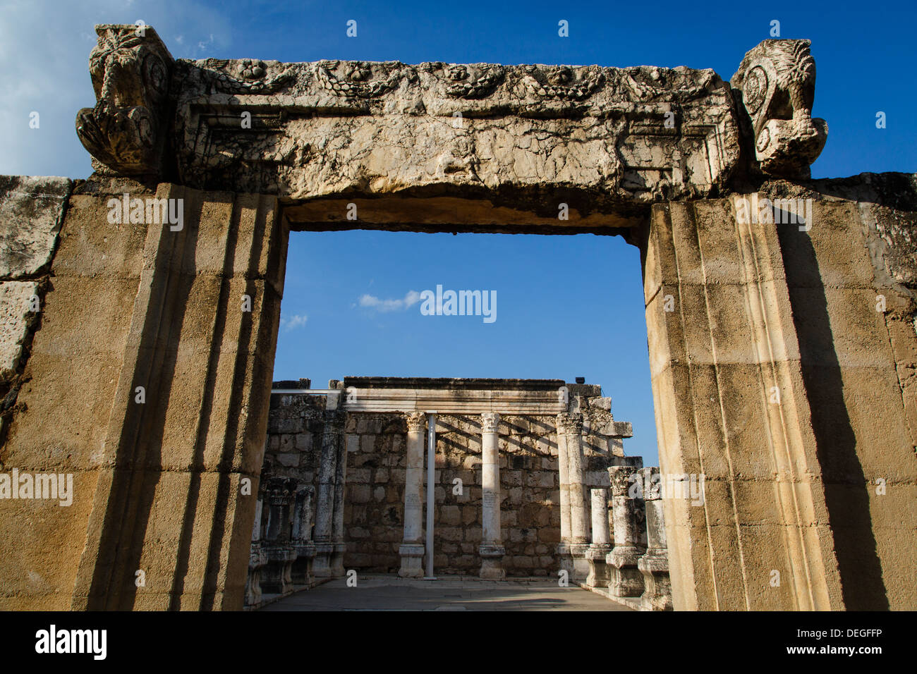 Ruins of the old Synagogue in Capernaum by the Sea of Galilee, Israel, Middle East Stock Photo