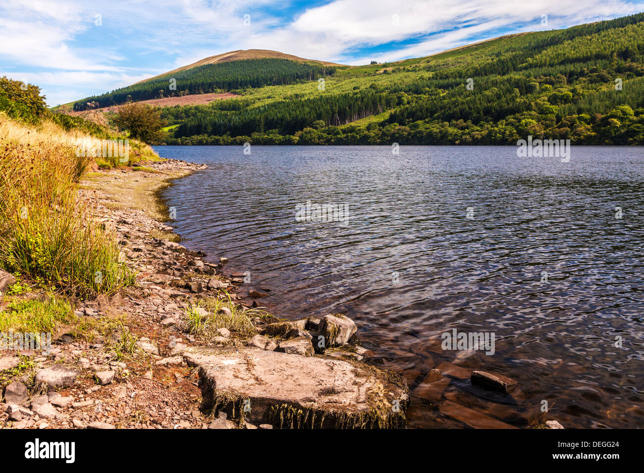 View over the Talybont Reservoir in the Brecon Beacons, Wales, UK - Stock Image