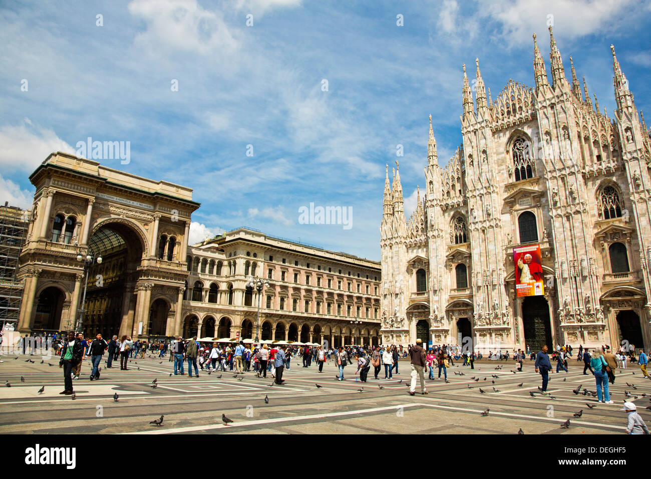 People at Duomo Di Milano, Milan, Lombardy, Italy - Stock Image