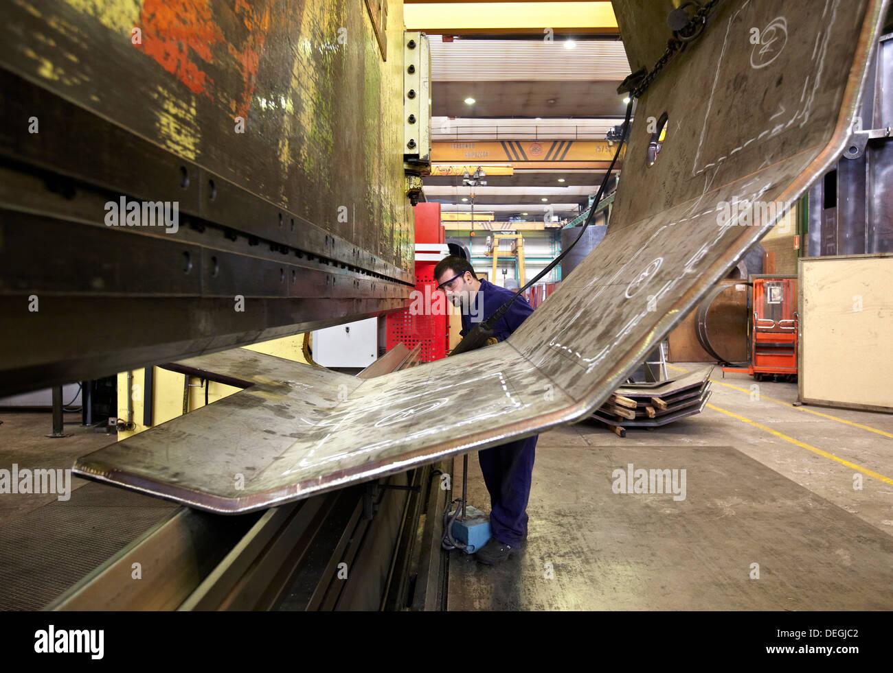 Sheet metal folder, boilermaking, Guipuzcoa, Basque Country, Spain - Stock Image