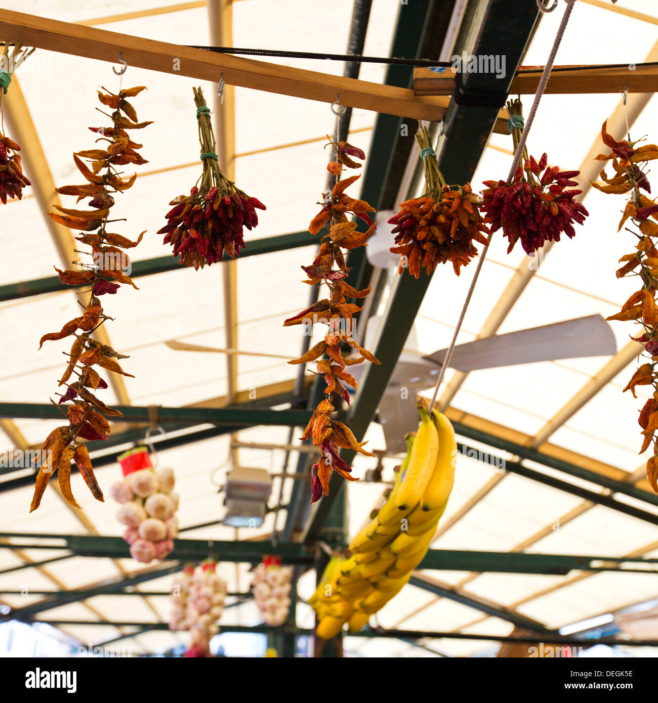 Chili peppers with bananas hanging at market stall, Tronchetto Mercato, Venice, Veneto, Italy - Stock Image