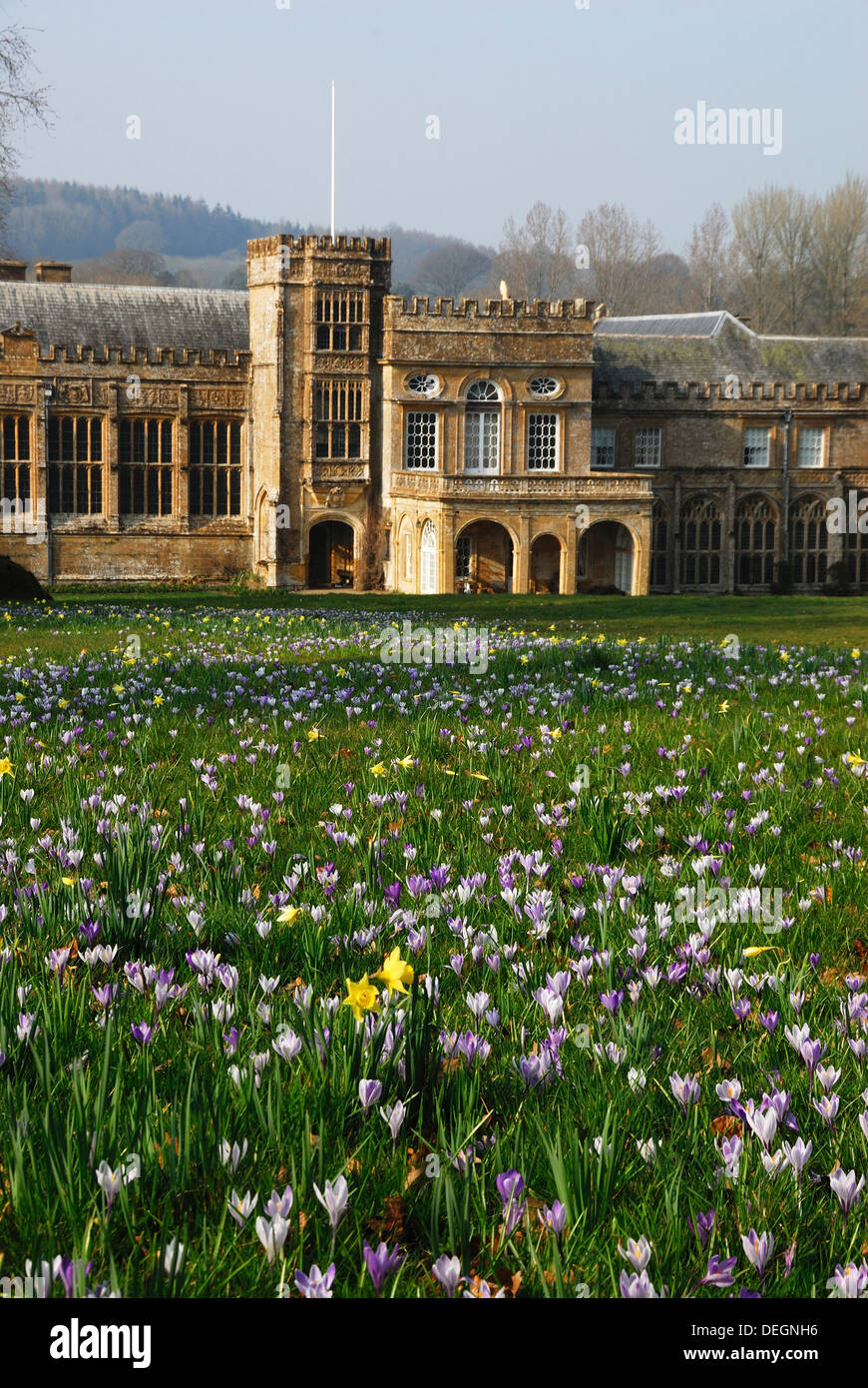 a view of the gardens and abbey at forde abbey in spring uk stock image