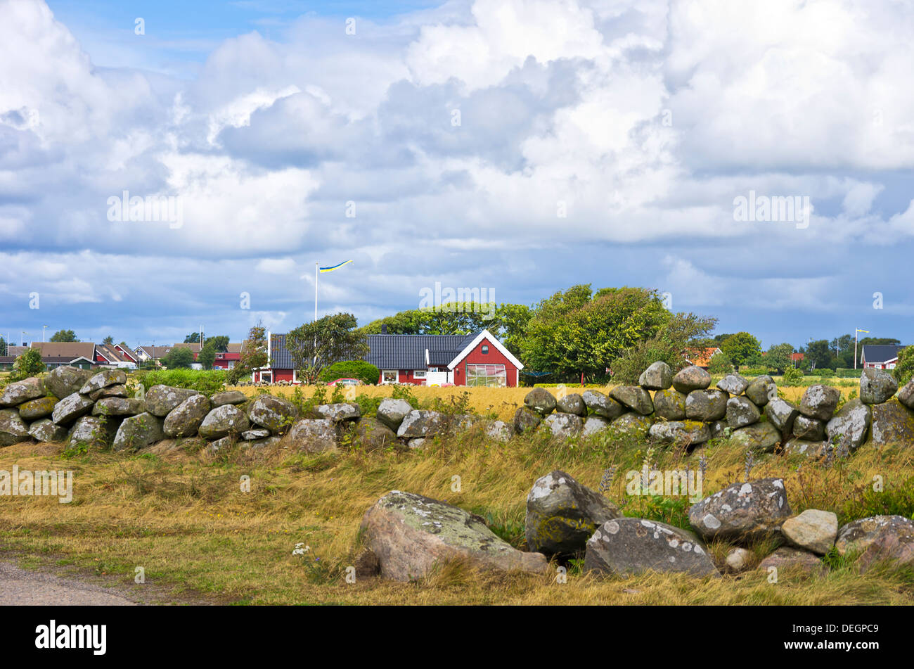 Typical Swedish Rural Environment And Countryside - Stock Image