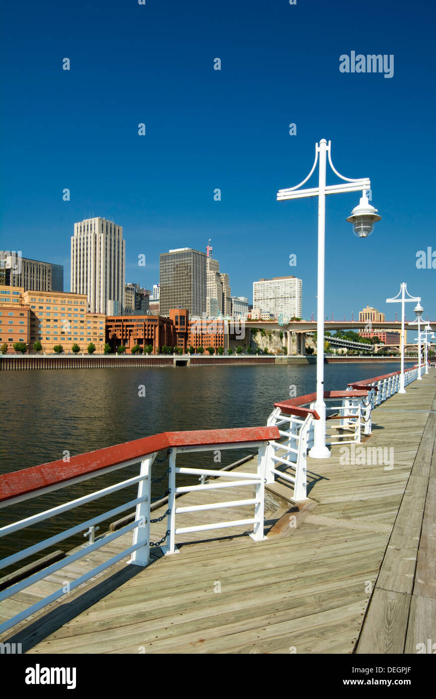 Saint Paul skyline form the Harriet Island Marina, St. Paul, Minnesota, USA - Stock Image