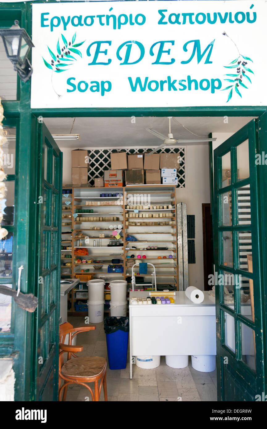 Soap Workshop in Parga mainland Greece Greek soap making shop - Stock Image