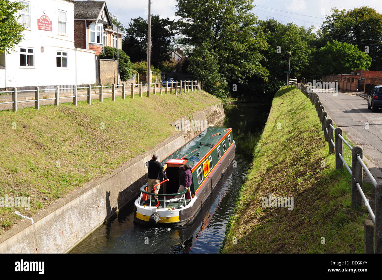 Briggate River on the Nene-Ouse Navigation Link at Whittlesey Cambridgeshire Fens - Stock Image