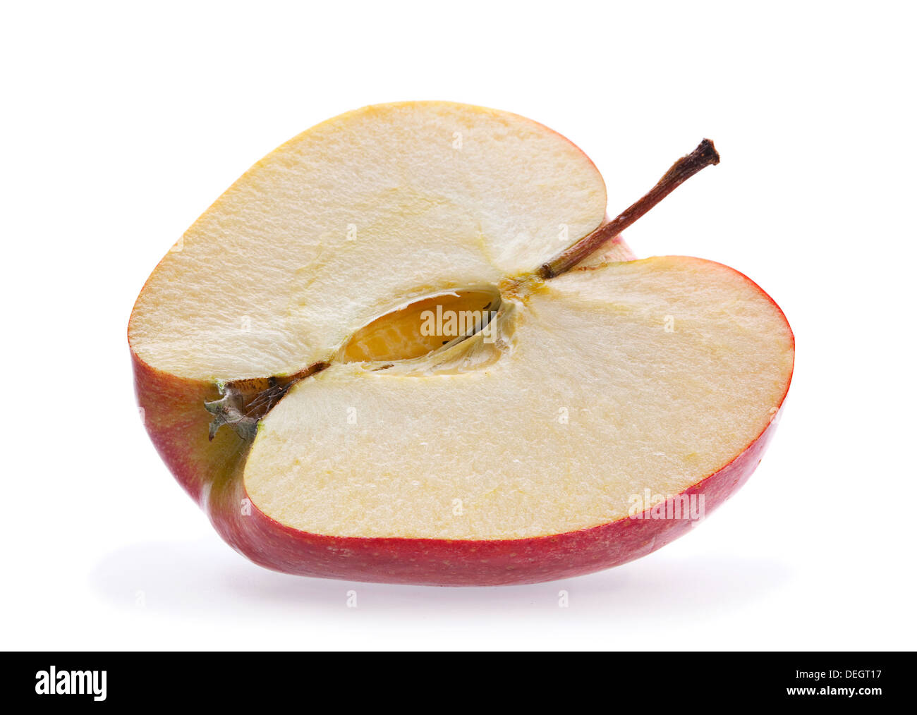 Apple part closeup isolated on white - Stock Image