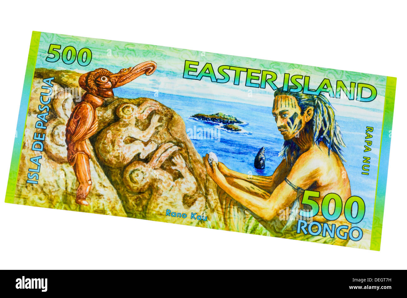 Easter Island 500 Rongo polymer (plastic) bank note - Stock Image