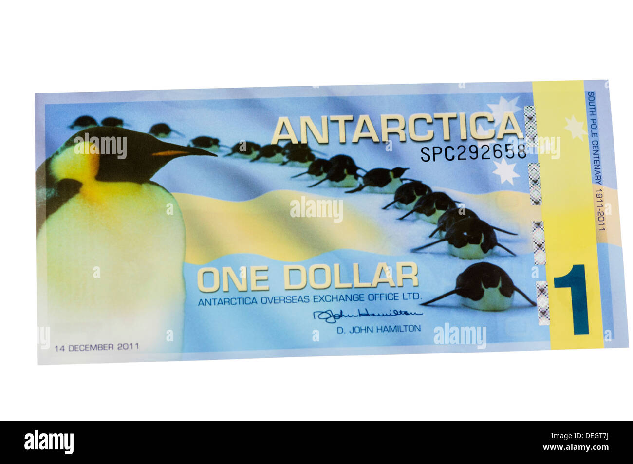 Antarcica one Dollar polymer (plastic) bank note - Stock Image