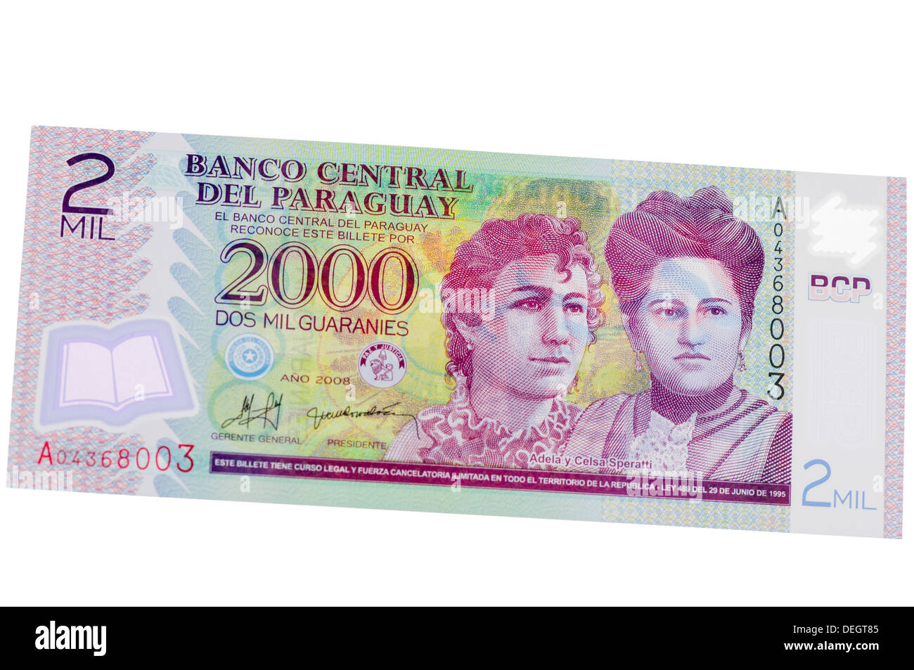 Banco Central Del Paraguay (Central bank of Paraguay) 2000 Guaranies polymer (plastic) bank note - Stock Image