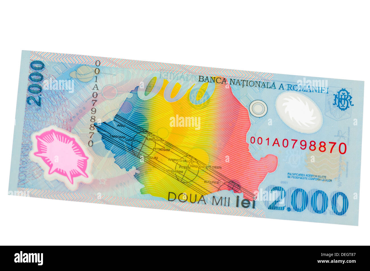 Banca Nationala A Romaniei (National Bank of Romania) 2000 Lei polymer (plastic) bank note - Stock Image