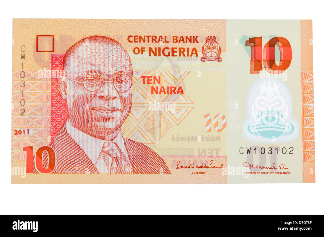 Central Bank of Nigeria 10 Naira polymer (plastic) bank note - Stock Image