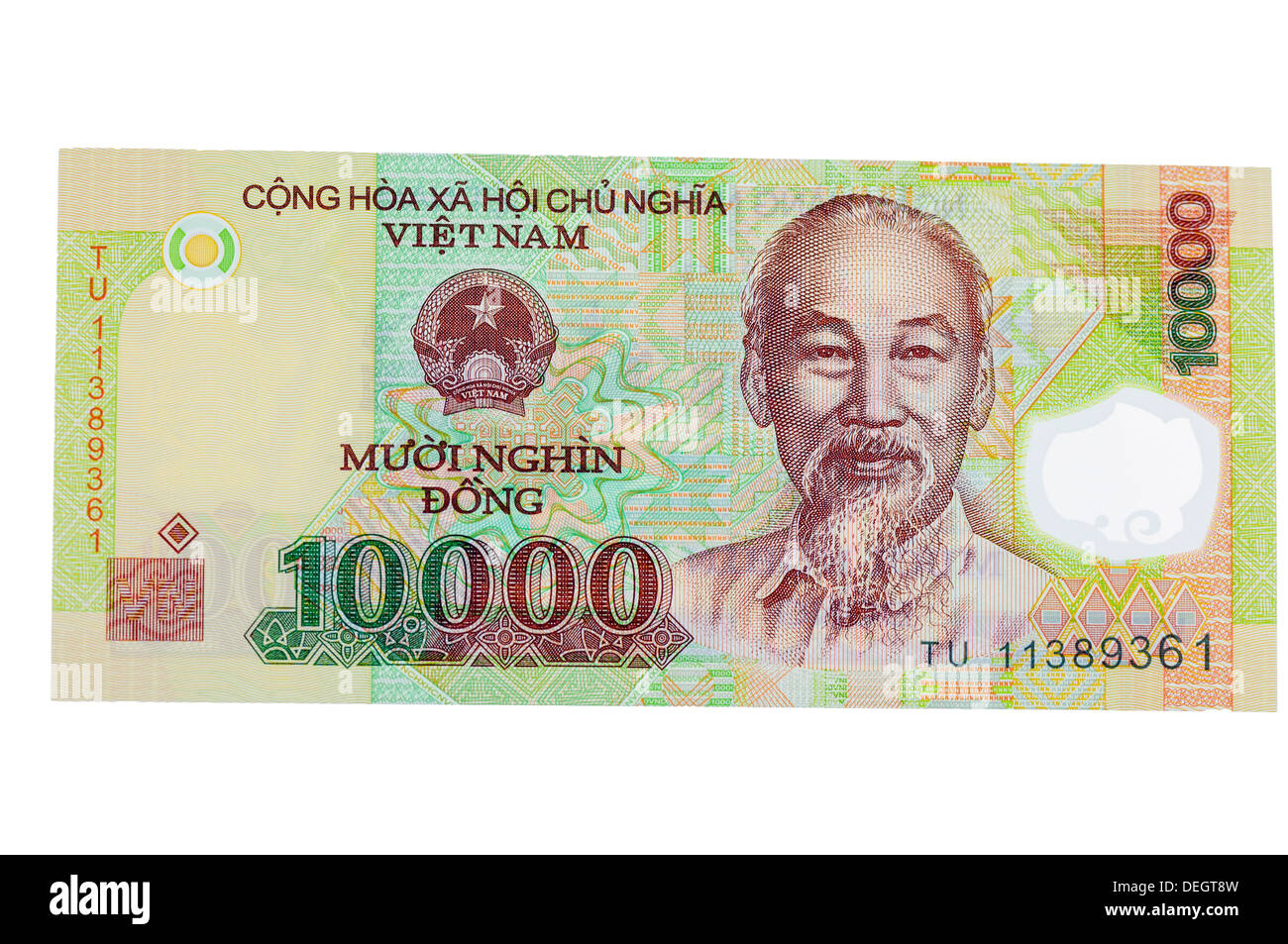 Vietnamese 10000 Dong polymer (plastic) bank note - Stock Image