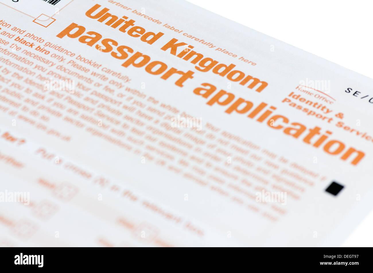 United Kingdom UK passport application form Stock Photo