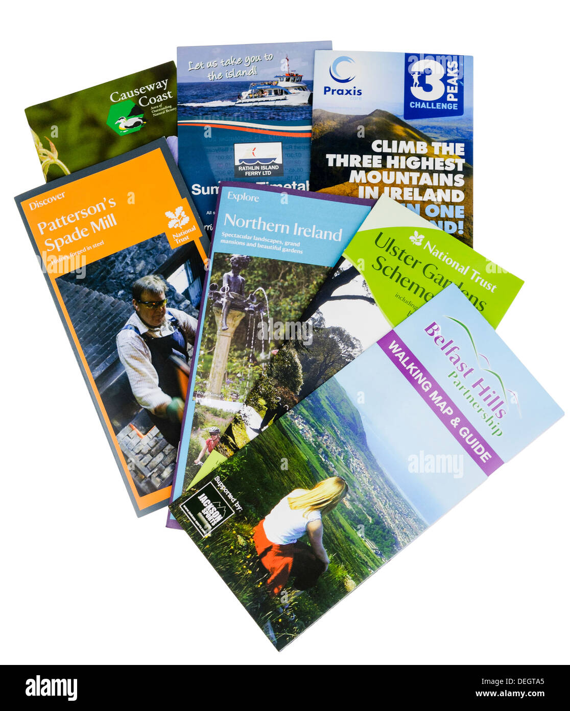 Tourist leaflets from Northern Ireland - Stock Image