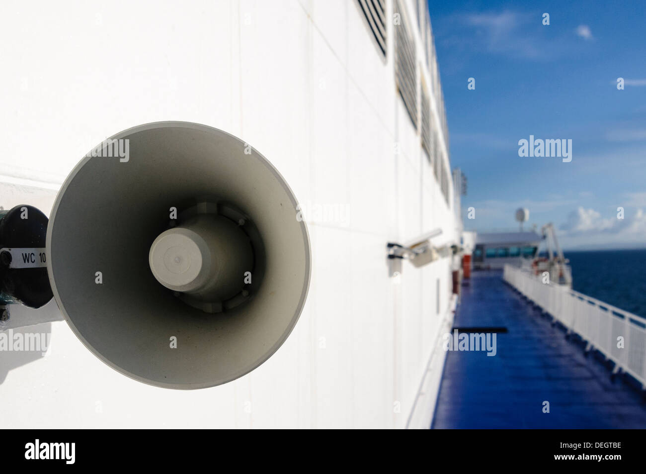 Loudspeakers on board a passenger ferry - Stock Image