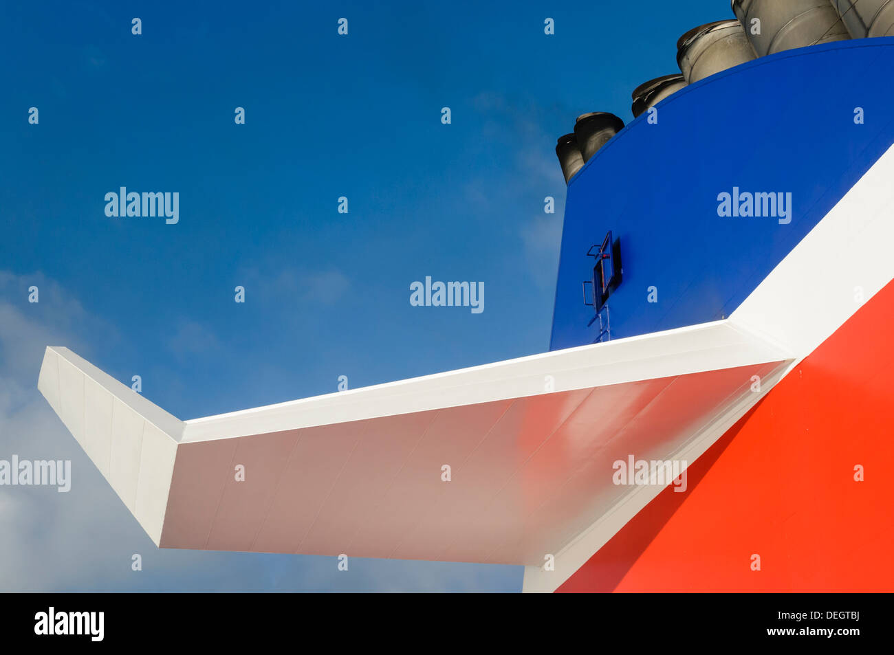 Rear funnel and wing on a Stena Superfast ferry - Stock Image