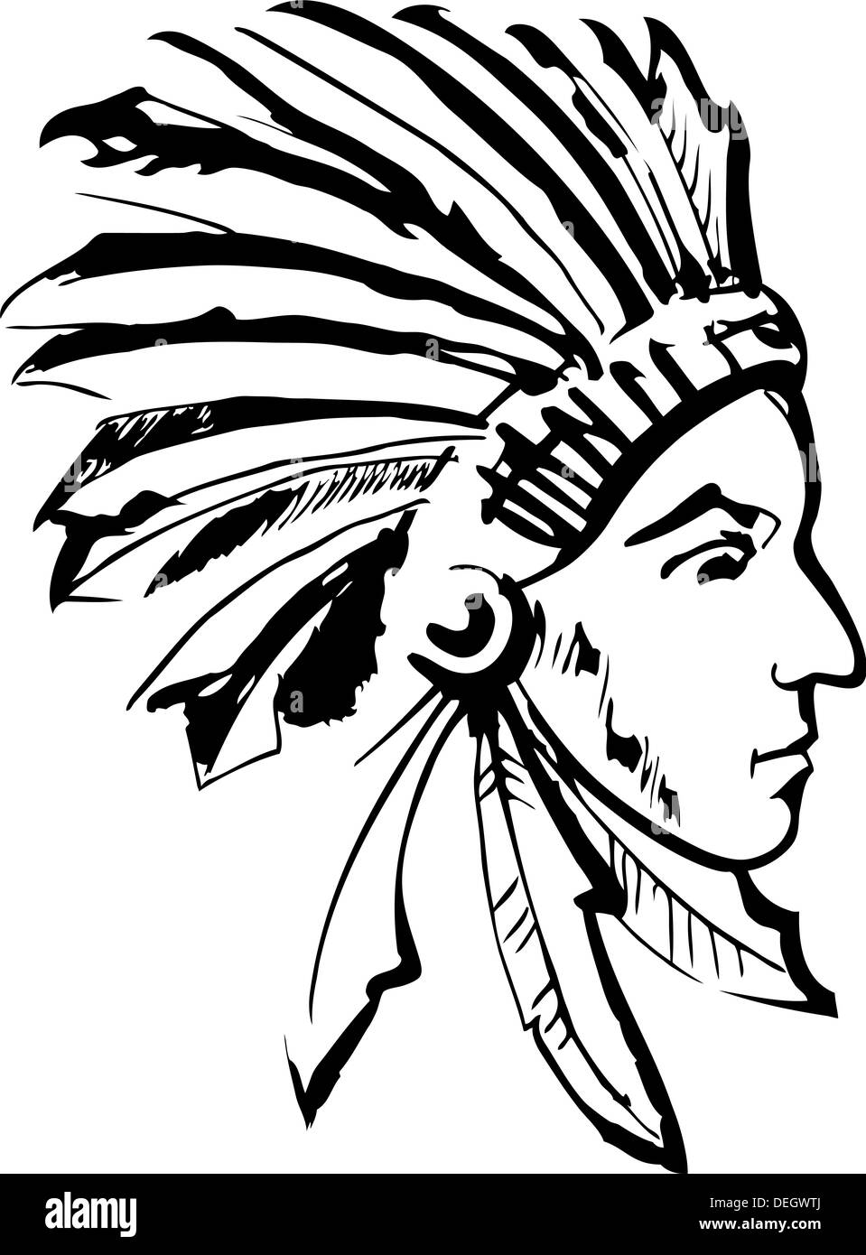 Native American Indian chief (black and white) - Stock Image