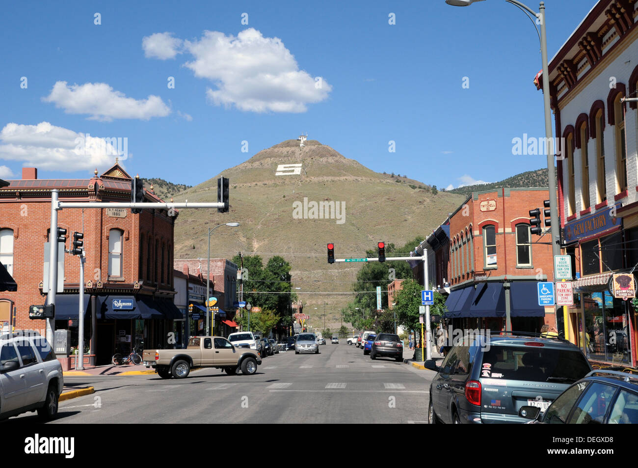 General view of Salida, Colorado where State Highway 291 passes through the town. - Stock Image