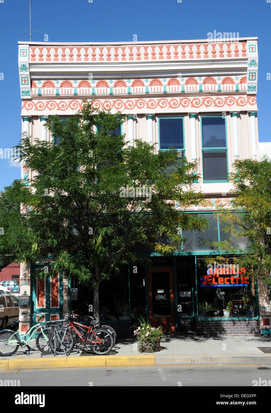 Ornate store front in the town of Salida, Colorado USA. - Stock Image
