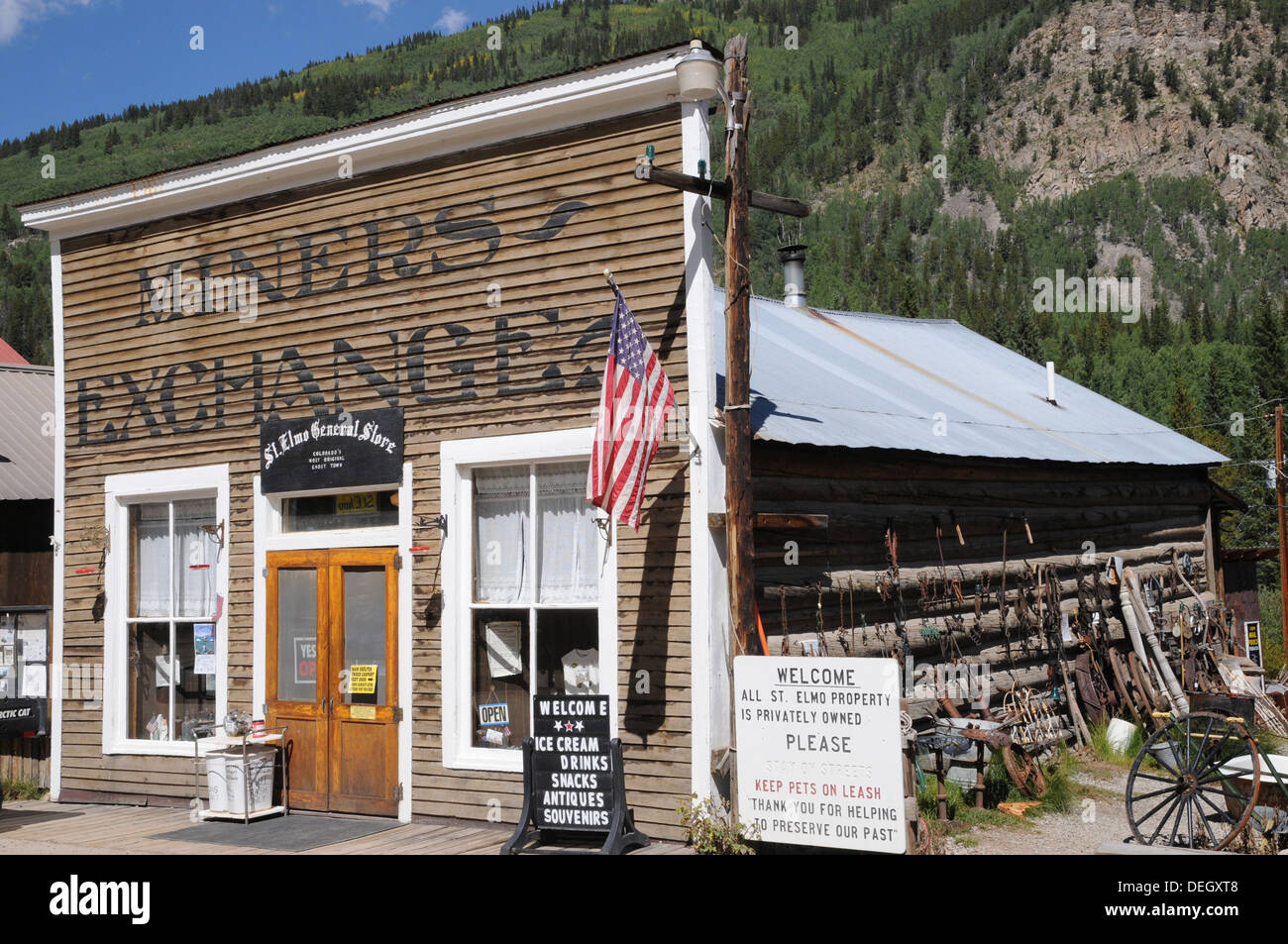 Original Miners Exchange, now open in the summer for tourists, St Elmo Ghost Town, Colorado. - Stock Image