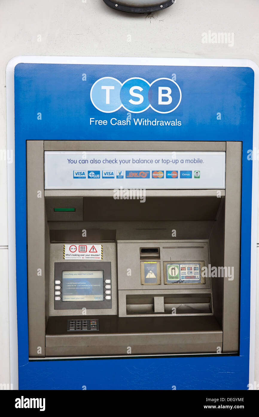 cash machine atm of newly reopened TSB bank retail bank in the uk - Stock Image