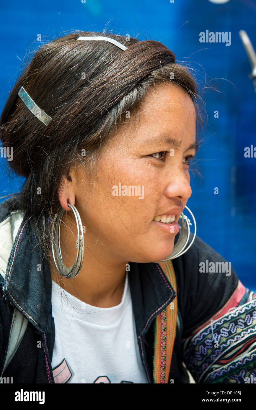 Portrait of ethnic group Black Hmong woman`s face, Sa Pa, Vietnam - Stock Image