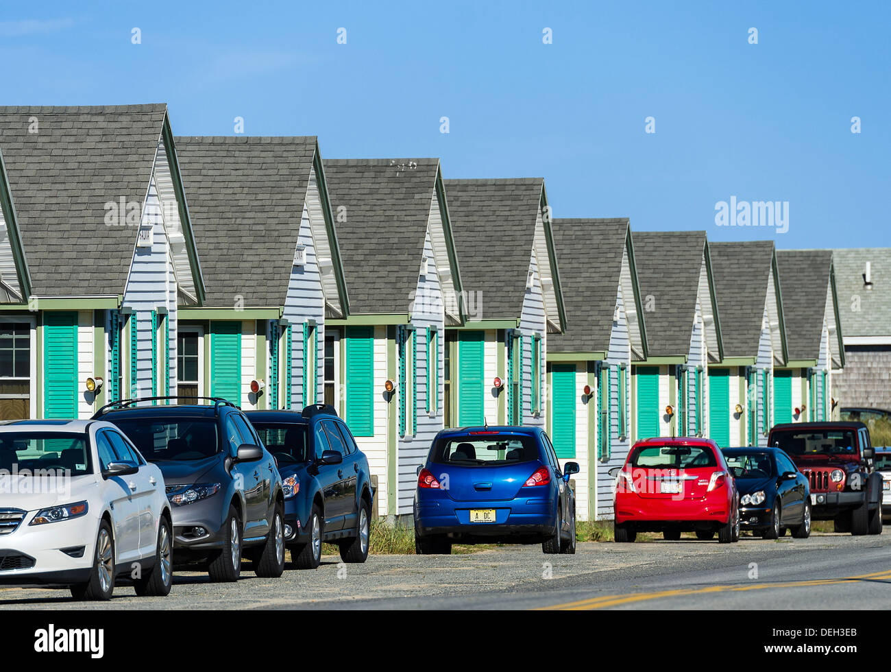 Waterfront rental cottages, Truro, Cape Cod, Massachusetts, USA - Stock Image