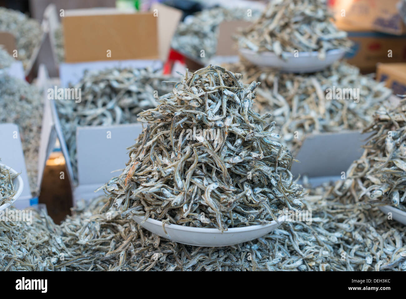 Dry Anchovies for sale at Jagalchi Fish Market, Busan, South Korea - Stock Image