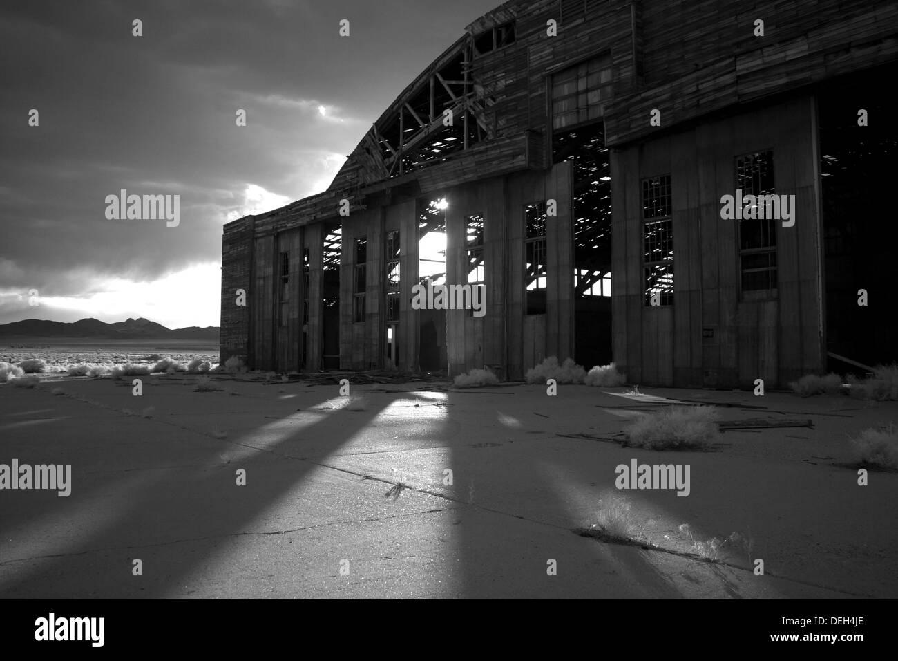 Infrared Photos of Tonopah Airport Nevada hangars - Stock Image