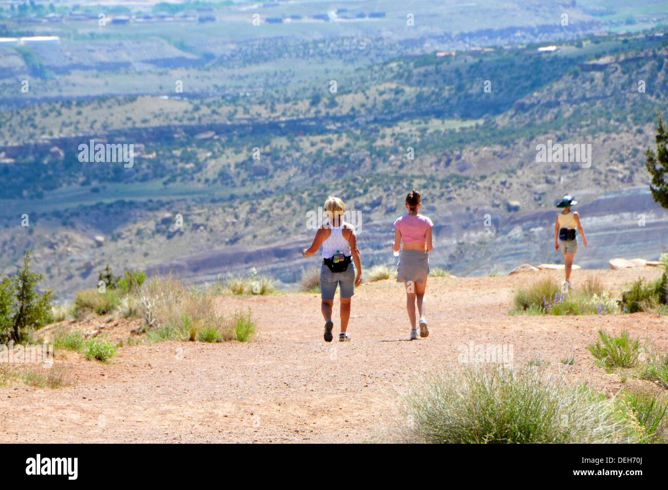 Hikers Serpents Trail Colorado National Monument Grand Junction Stock Photo