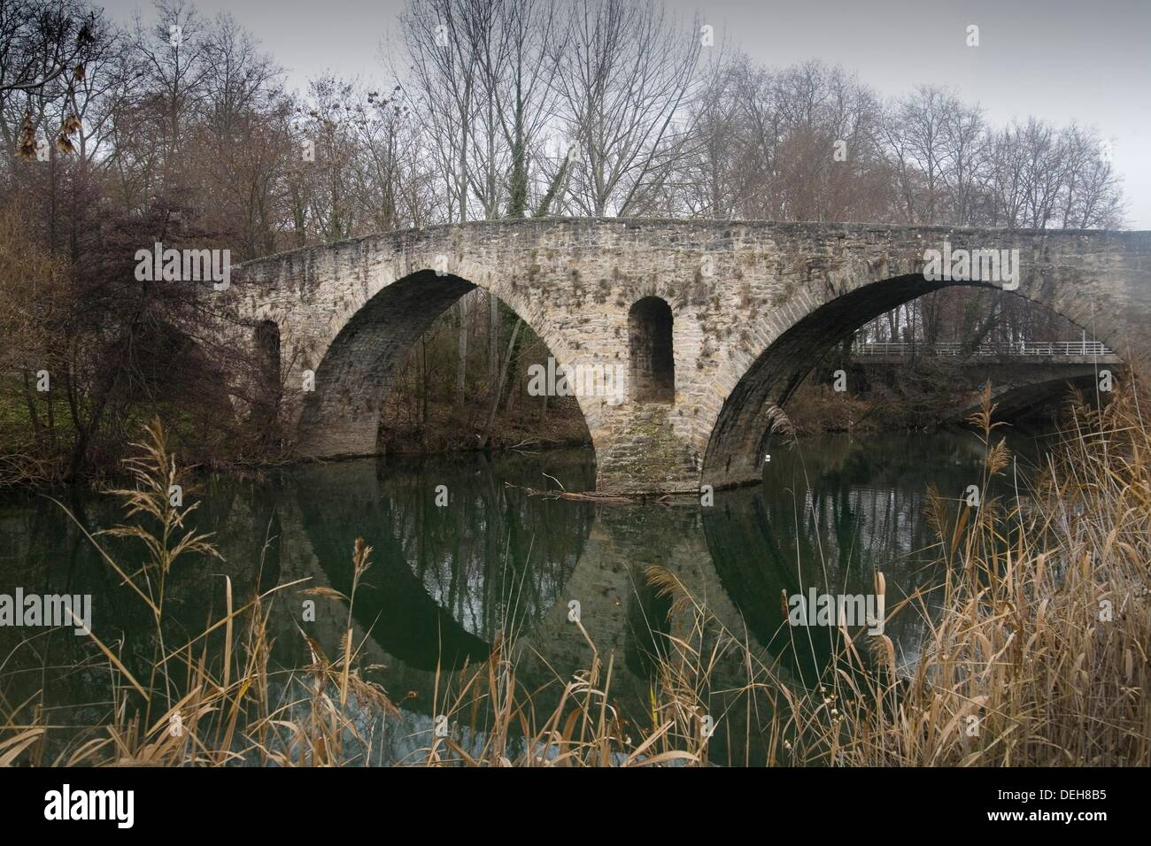 Bridge of `La Magdalena´ romanesque bridge Pamplona Navarra Spain Camino de Santiago Stock Photo