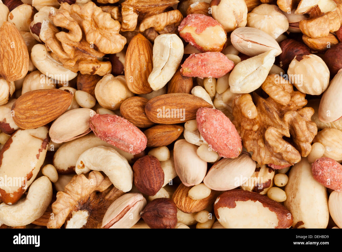 mixed nuts background above closeup - Stock Image