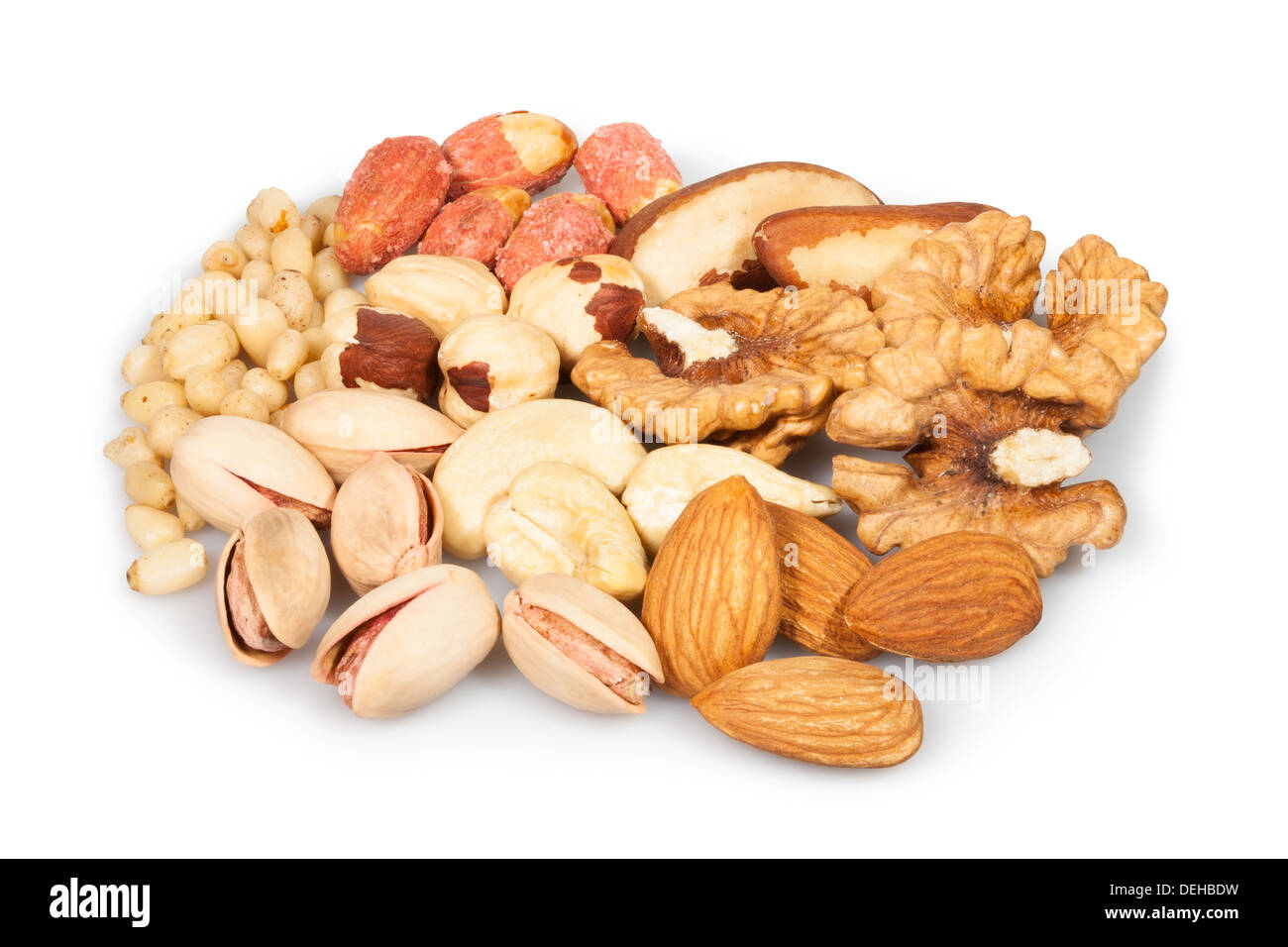 mixed nuts group on white background - Stock Image
