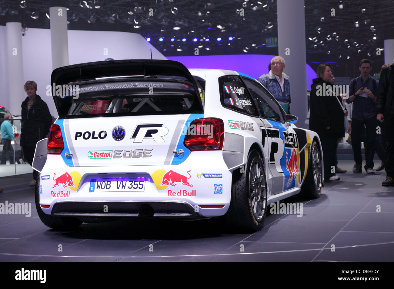 International Motor Show in Frankfurt, Germany. Volkswagen presenting the Polo WRC Rallye racing car at the 65th IAA - Stock Image