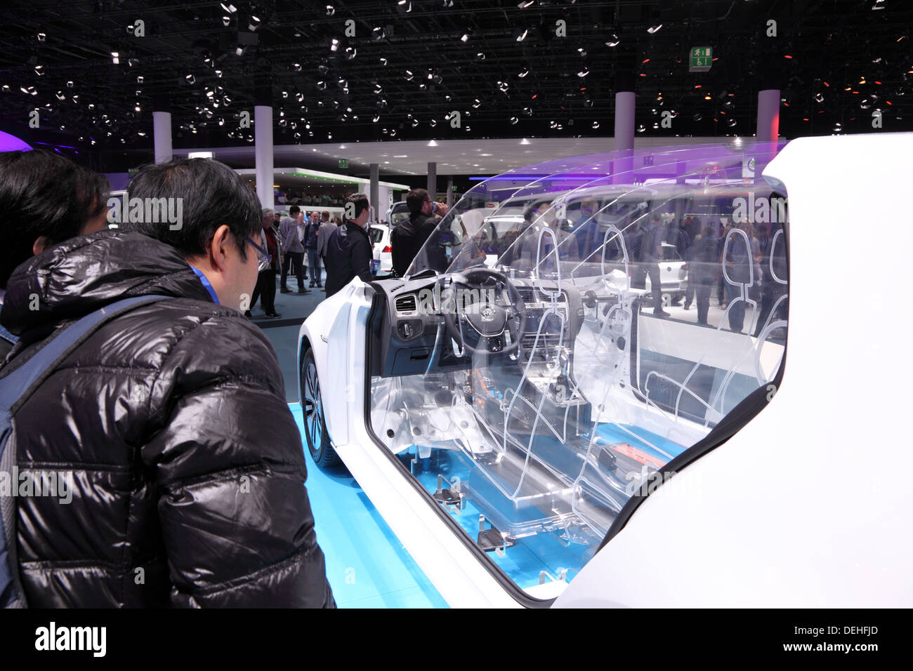 International Motor Show in Frankfurt, Germany. Volkswagen presenting the E-Golf at the 65th IAA in Frankfurt, Germany - Stock Image