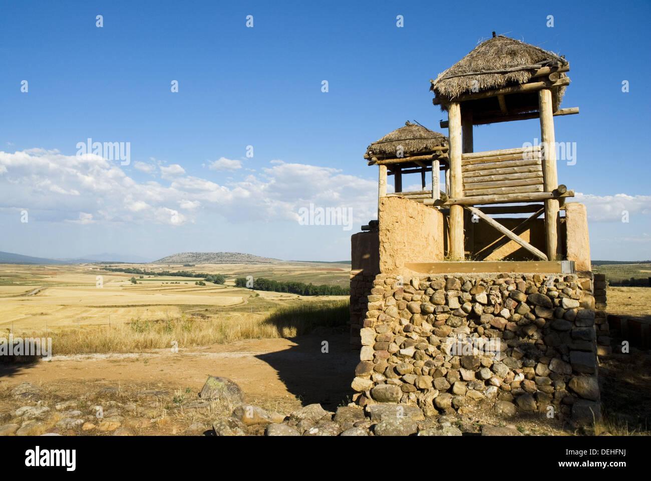 Reconstruction of the celtiberian wall, Numancia (Numantia) archaeological site. Near Garray, Soria province, Castile-Leon, - Stock Image