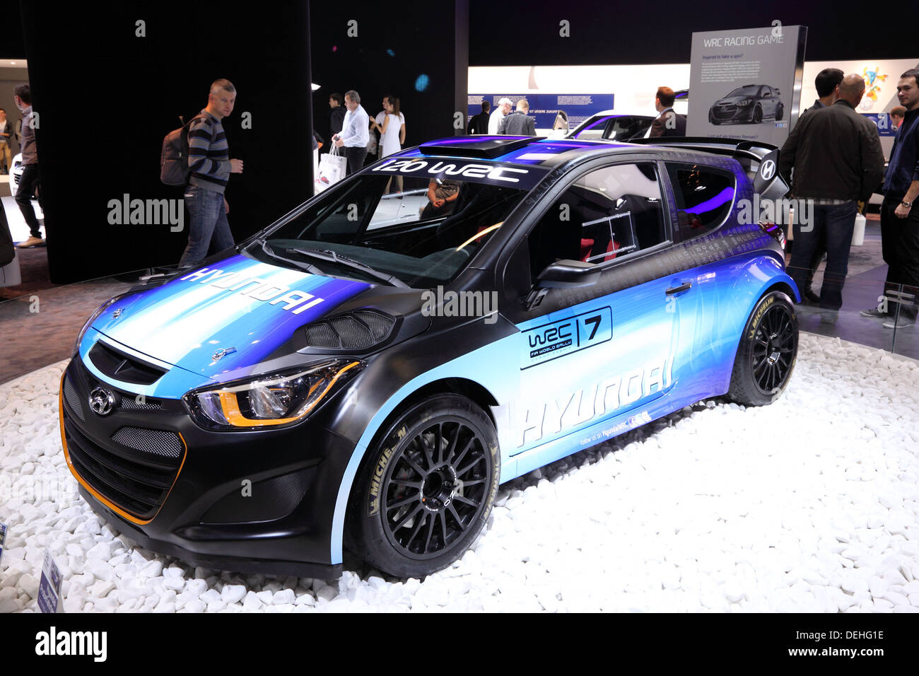 International Motor Show in Frankfurt, Germany. Hyundai presenting the i20 WRC Rallye Racing Car at the 65th IAA in Frankfurt - Stock Image