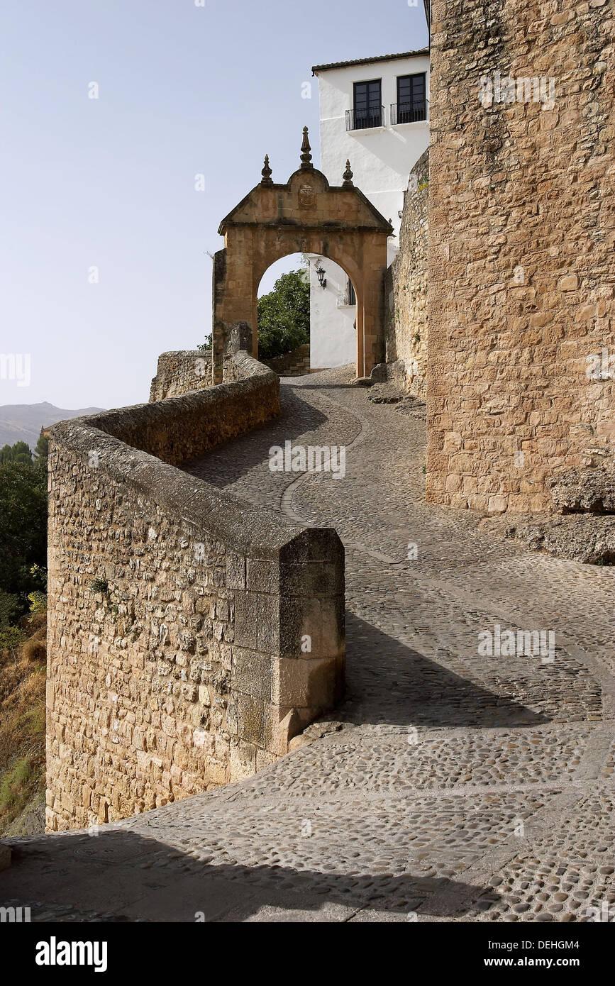 Arco de Felipe V built in 1742. Ronda. Málaga province, Spain - Stock Image