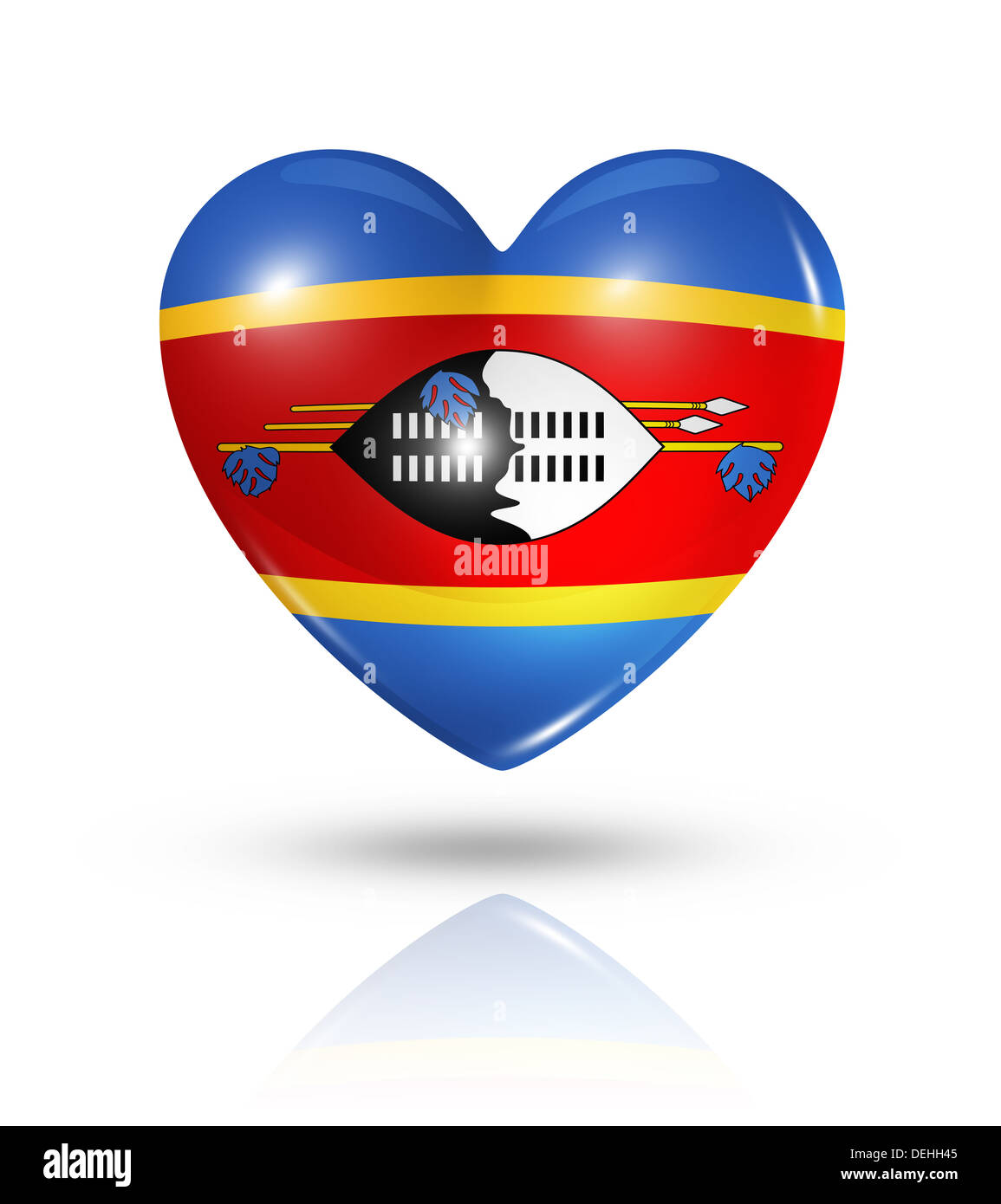 Love Swaziland symbol. 3D heart flag icon isolated on white with clipping path Stock Photo