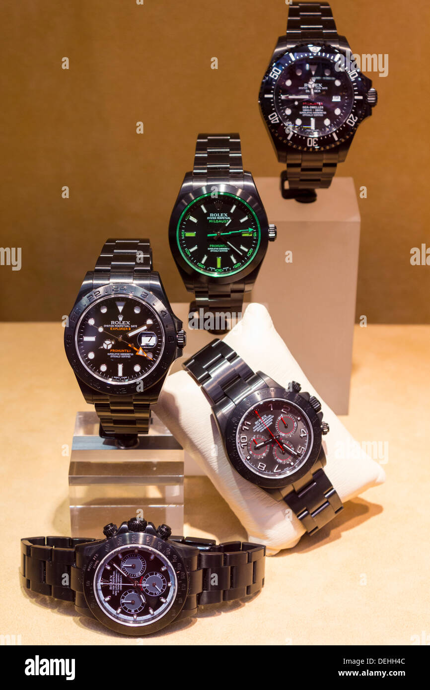 A Display of Men's Rolex Watches - Stock Image
